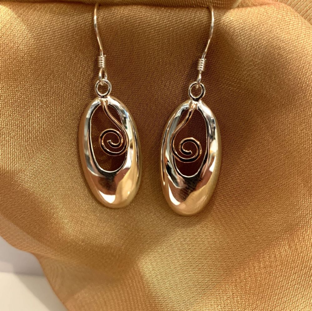 Two Tone Sterling Silver And Rose Gilt Oval Drop Earrings